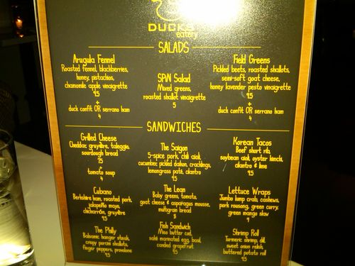 Ducks Menu