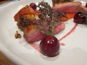 "Sous vide duck breast, wild mushrooms, cherries, piquillo pepper ""tape"", horseradish"