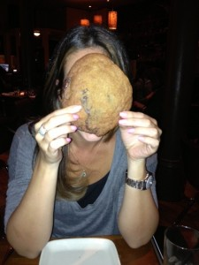 Just to show you scale: This is my friend Inbal. This is a cookie that is as big as her head. You're welcome.