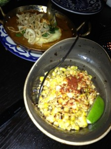 Foreground: amazing corn. Background: goat cheese crepes