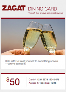 Example: Zagat Gift Card at the $50 denomination