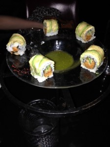 Spicy tuna and salsa verde pool for dipping.