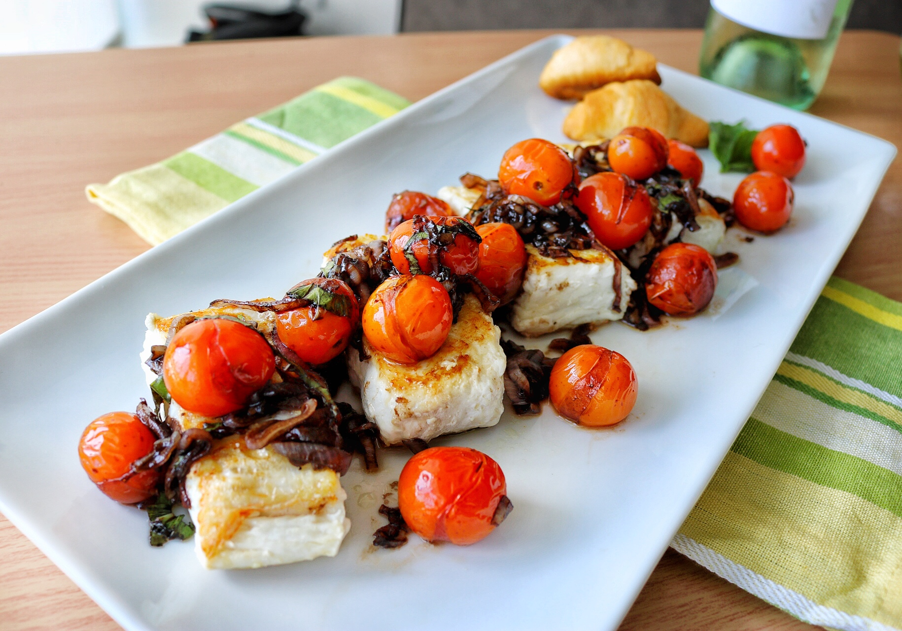 Halibut with Balsamic Tomatoes - Dara Pollak