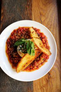 Burrata w Tomato Marmalade Haswell Greens nyc